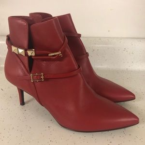 New Valentino Red Leather Rockstud Harness Booties